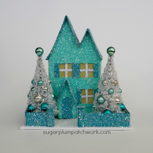 Turquoise Glitter House with White Trees