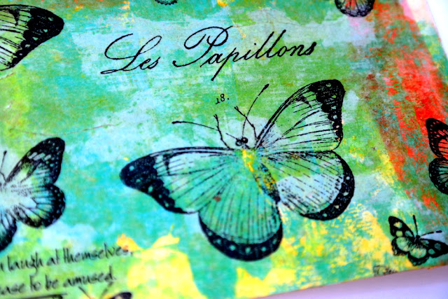 Les Papillons Mixed Media Postcard by Dana Tatar for Canvas Corp Brands