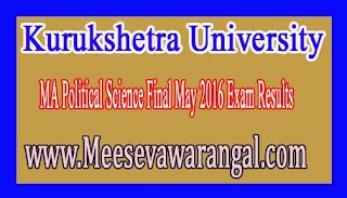 Kurukshetra University MA Political Science Final May 2016 Exam Results