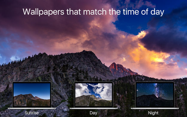 This application contains 58 wallpaper sequences with 5K resolution which change according to time. Each sequence has 30 images. The locations are from all ...