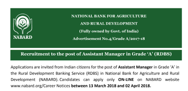 NABARD Recruitment 2018 For Assistant Manager (Grade A)