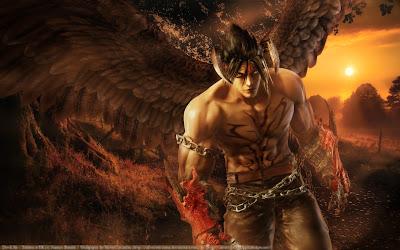 Jin Kazama transformado en demonio son bosque detras