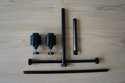 T-bar, counterweights and optional short vertical bar on the right