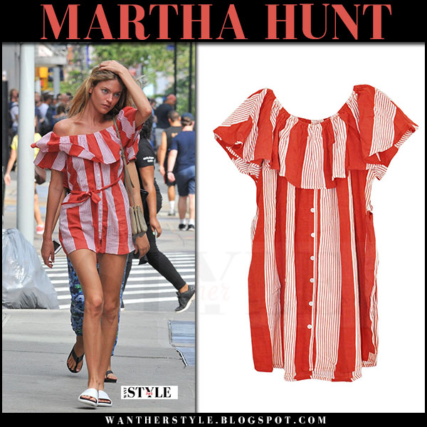 Martha Hunt in red striped mini dress what she wore july 8 2017 street fashion model