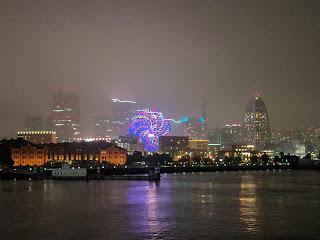 横浜港に到着前の景色