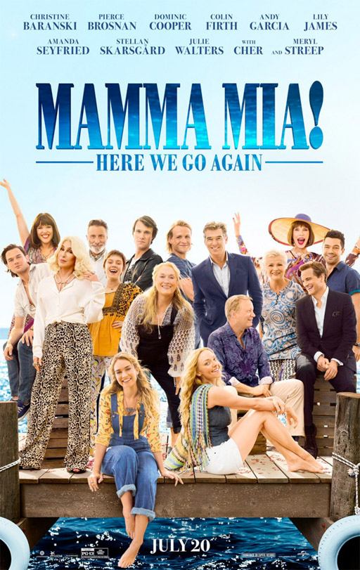 The official poster for 'Mamma Mia! Here We Go Again'