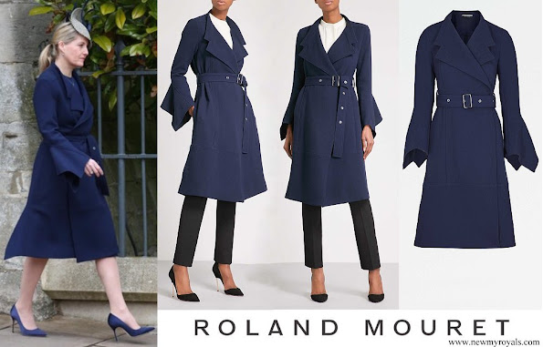 Countess Sophie wore ROLAND MOURET Millington wool crepe coat