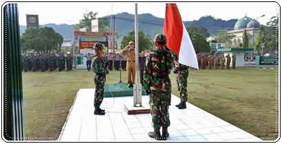 """""""Pupuk Soliditas"""" Kodim 0311/Pessel Gelar Upacara Gabungan TNI-POLRI Dan Pemda Kab. Pessel"""