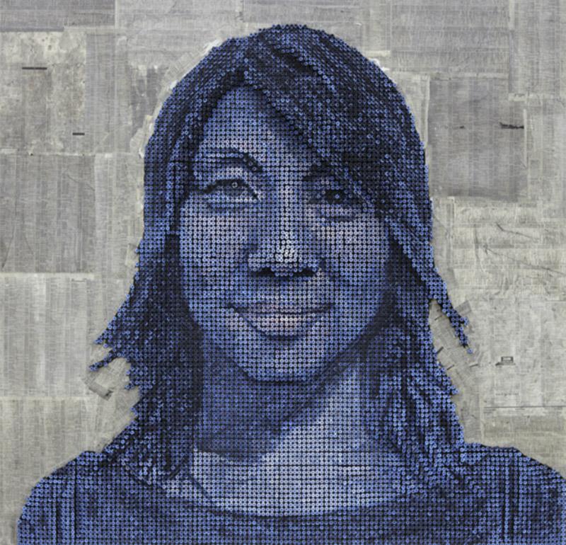 all blue screw portrait