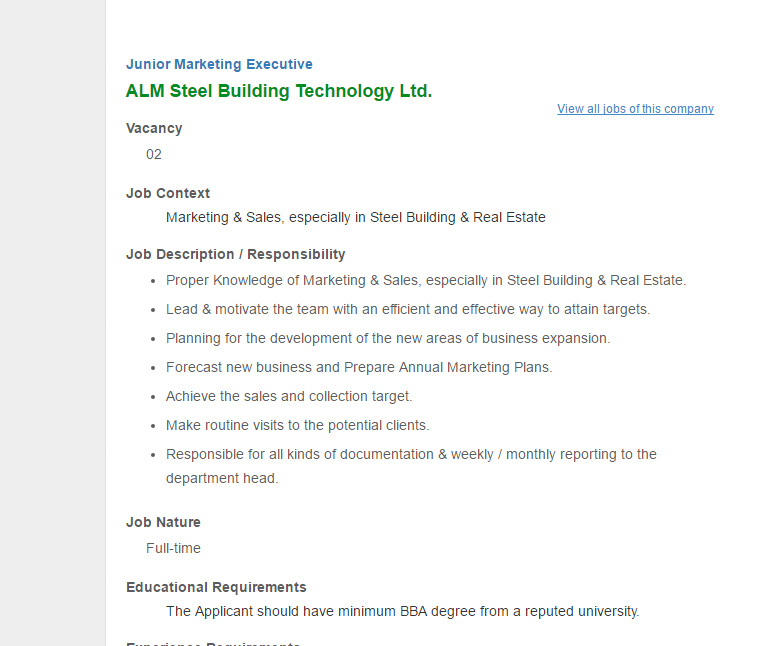 Alm Steel Building Technology Ltd - Junior Marketing Executive