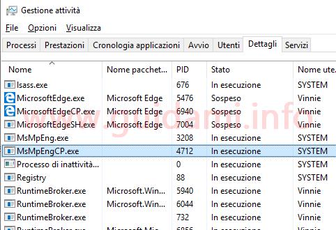 Task Manager Windows 10 scheda Dettagli con processo modalità sandbox di Windows Defender