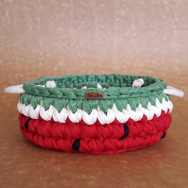 Nó a nó Crocheteria - cesto melancia de crochê