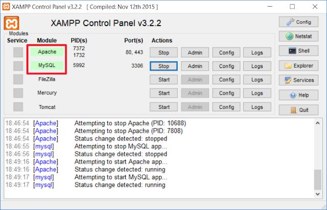 Tanda kalau module Apache dan MySQL sudah aktif di XAMPP Control Panel