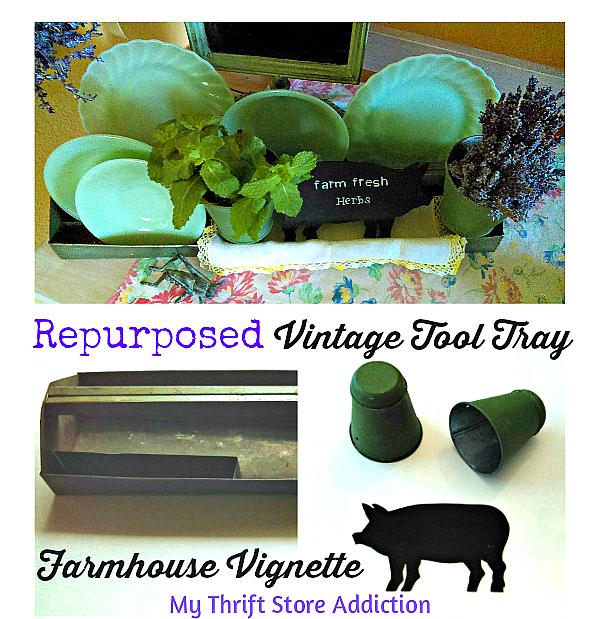 Vintage tool tray farmhouse vignette
