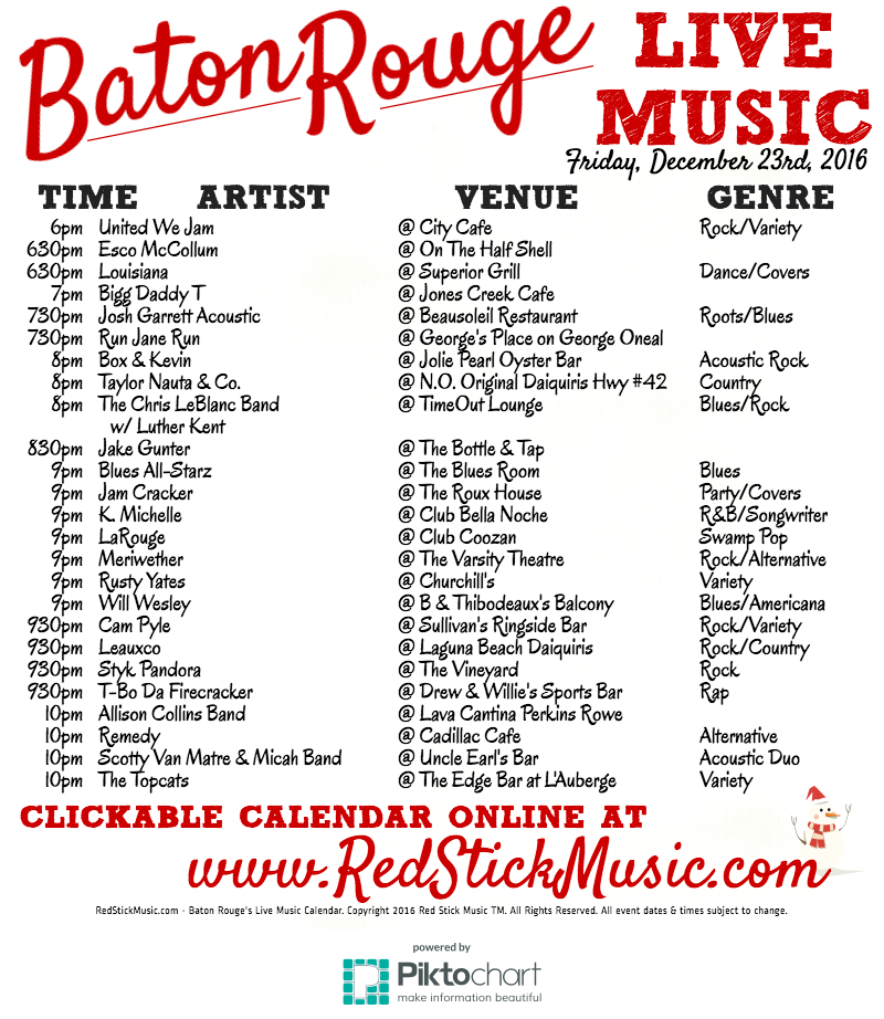 The Live Music Calendar From RedStickMusic.com: 2016