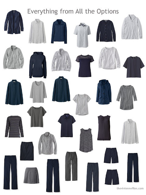 a 34-piece navy and grey wardrobe of Neutral Building Blocks
