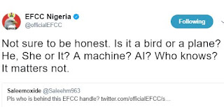 EFCC's reply to Twitter User that asked for the person handling EFCC's account