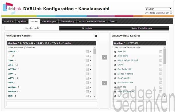 DVBLink Server - Kanalauswahlauswahl am Webinterface