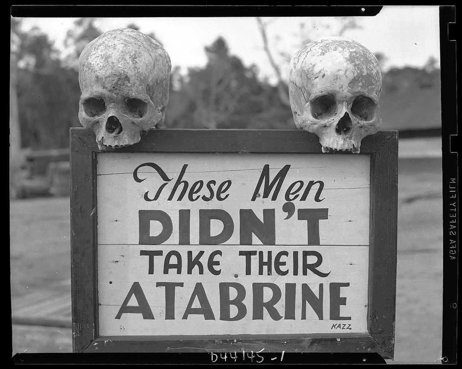 Advertisement for Atabrine, an anti-malaria drug, 1941.