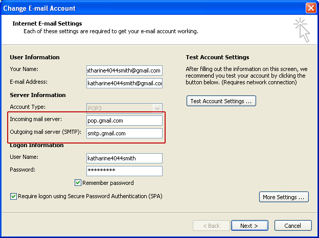 gmail account configuration outlook 2007