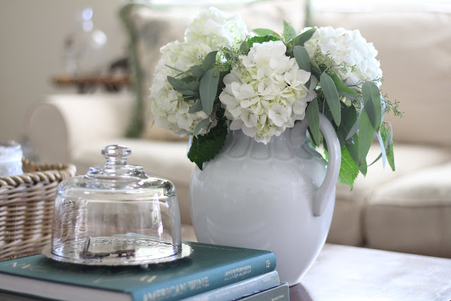 decorating-with-cloches-coffee-table-2-hydrangeas