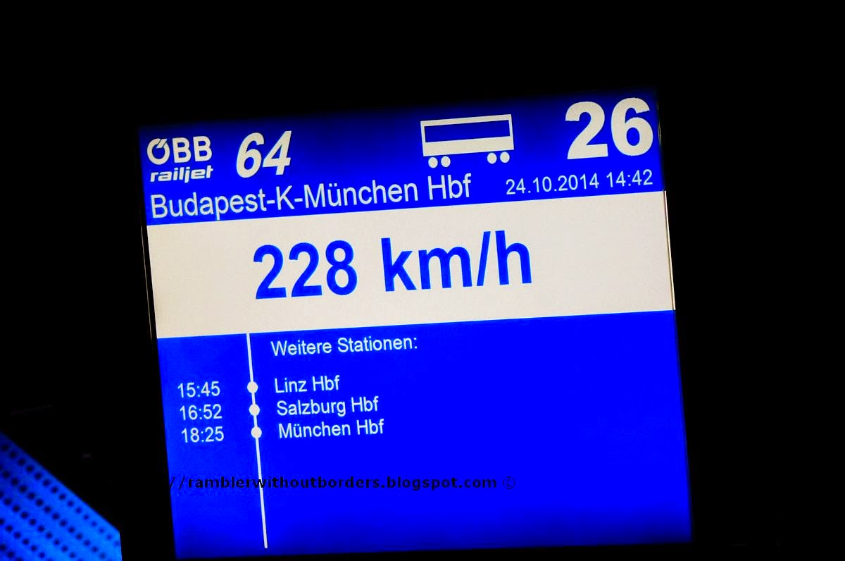 speed report on OBB Railjet, Europe
