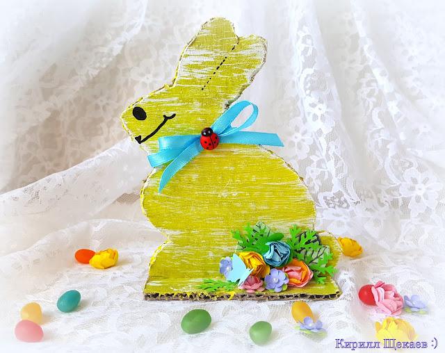 пасхальные, кролики, картон, цветы