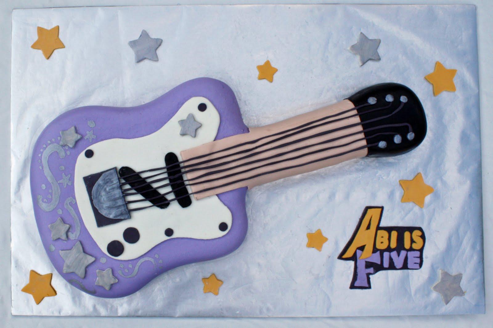 Terrific Hannah Montana Guitar Birthday Cake Funny Birthday Cards Online Alyptdamsfinfo