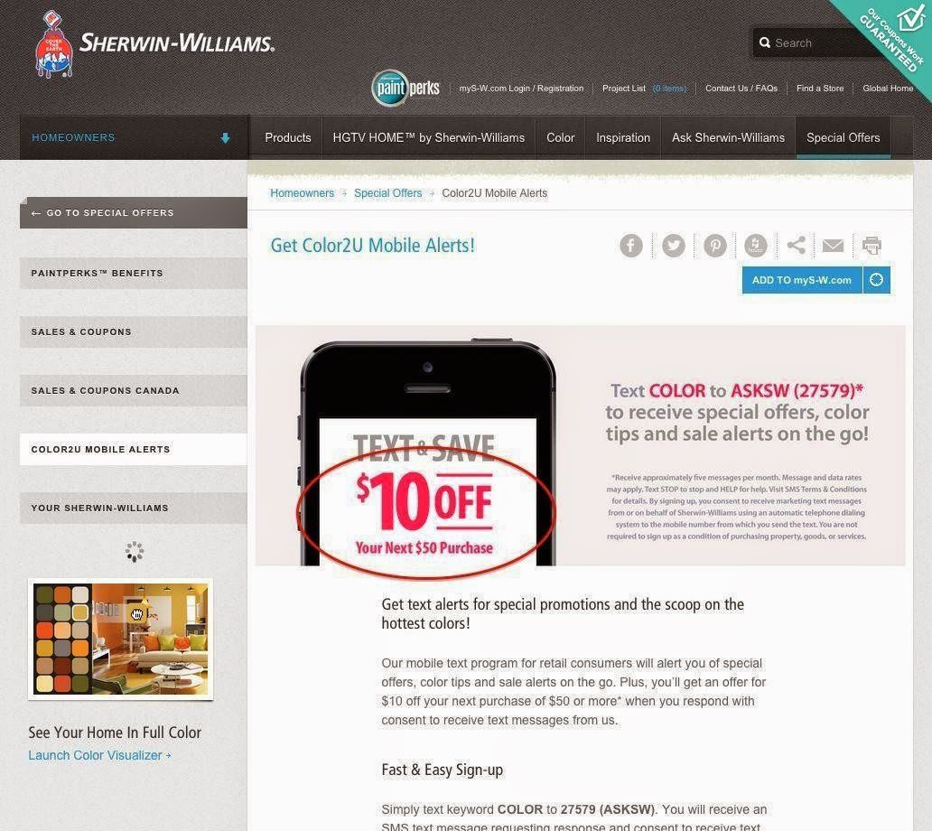 graphic about Sherwin Williams Printable Coupon titled Sherwin williams coupon code
