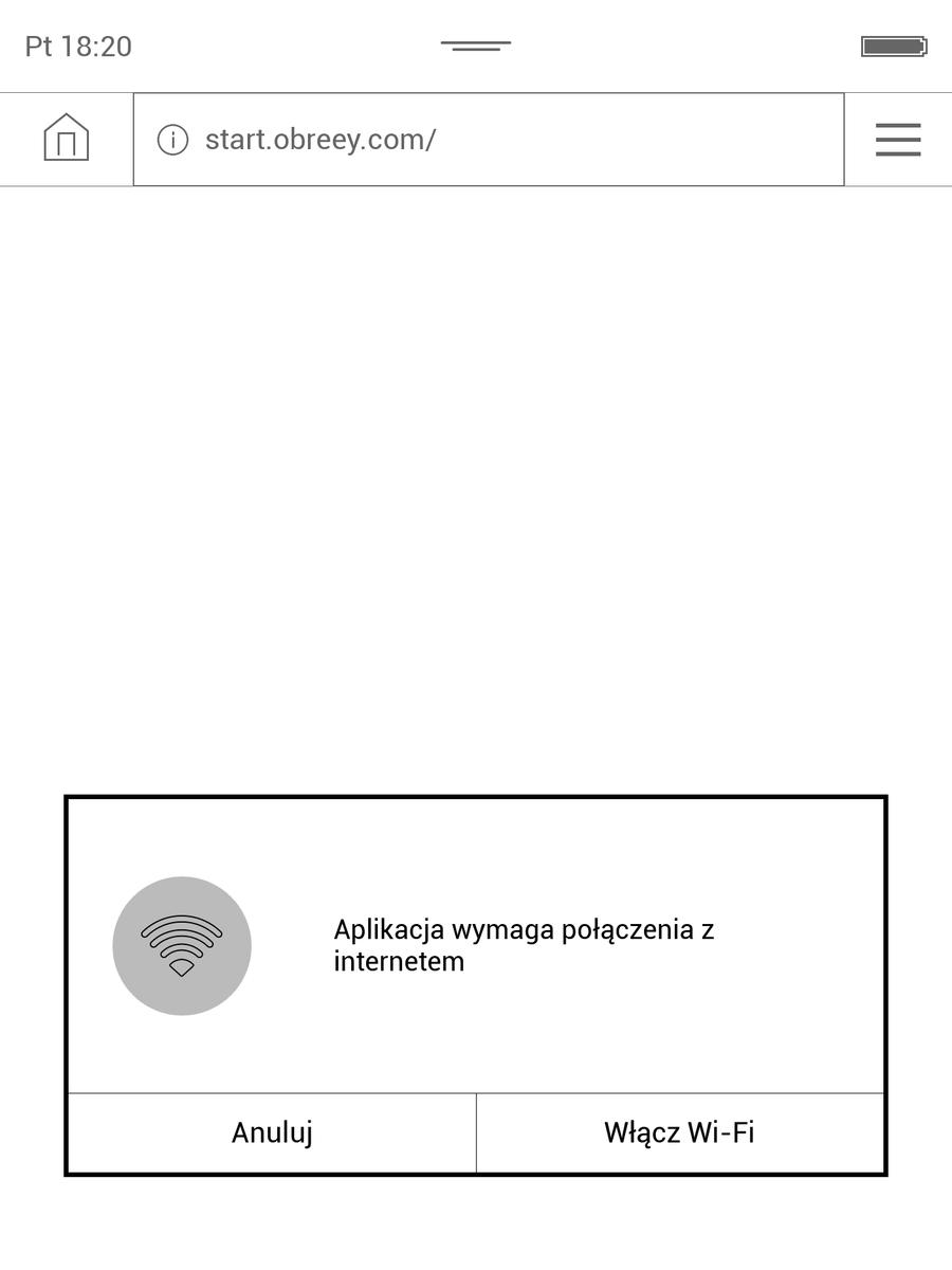Przy uruchomianiu przeglądarki czytnik przypomni o włączenu WiFi