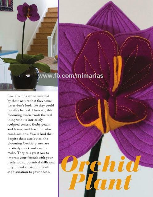 Orquídea em feltro com molde