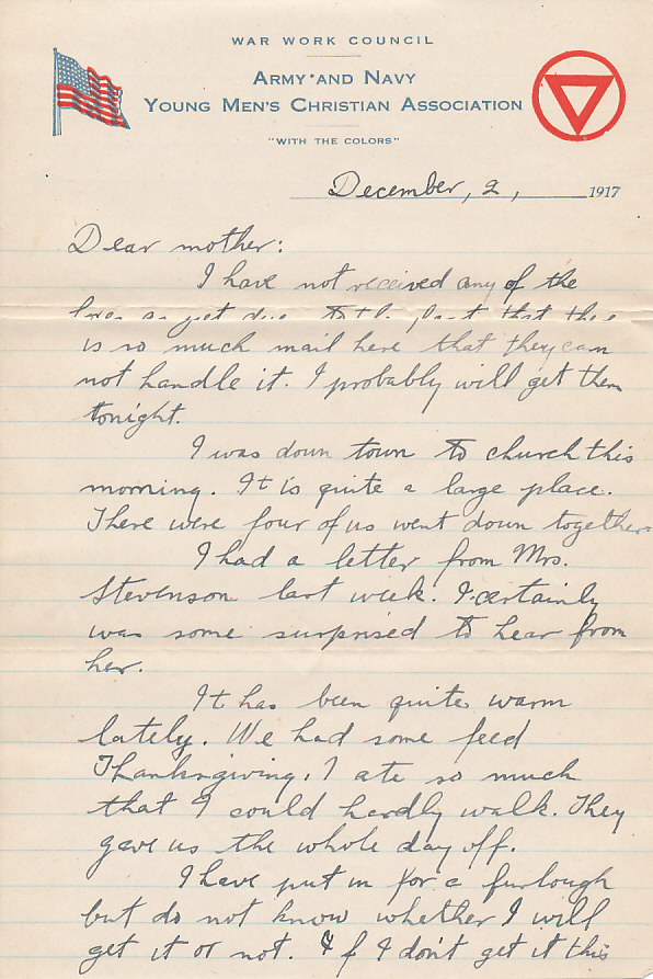 wwi letters wwi letter harry s truman c doniphan wwi letters camp wadsworth wwi letter dec 2 1917 432