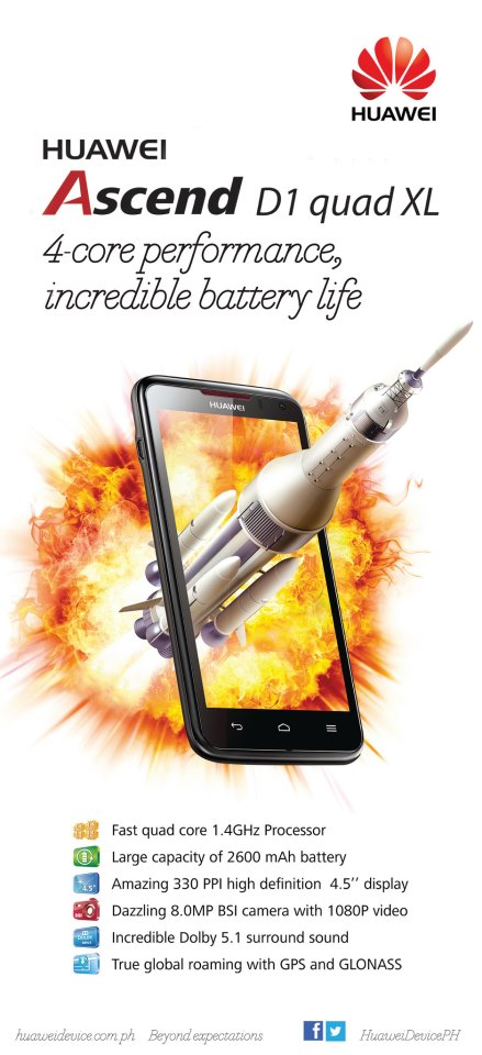 Huawei Ascend D Quad XL Price, Specs and Availability in the Philippines