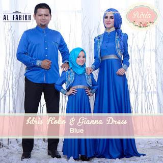 Baju Lebaran Keluarga Warna Biru Couple