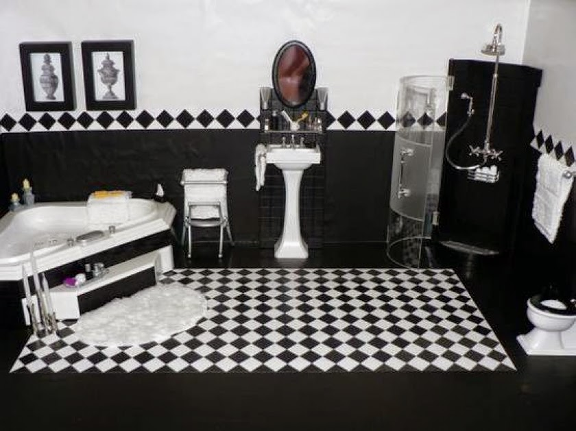 chess black and white bathroom ideas, designs, furniture