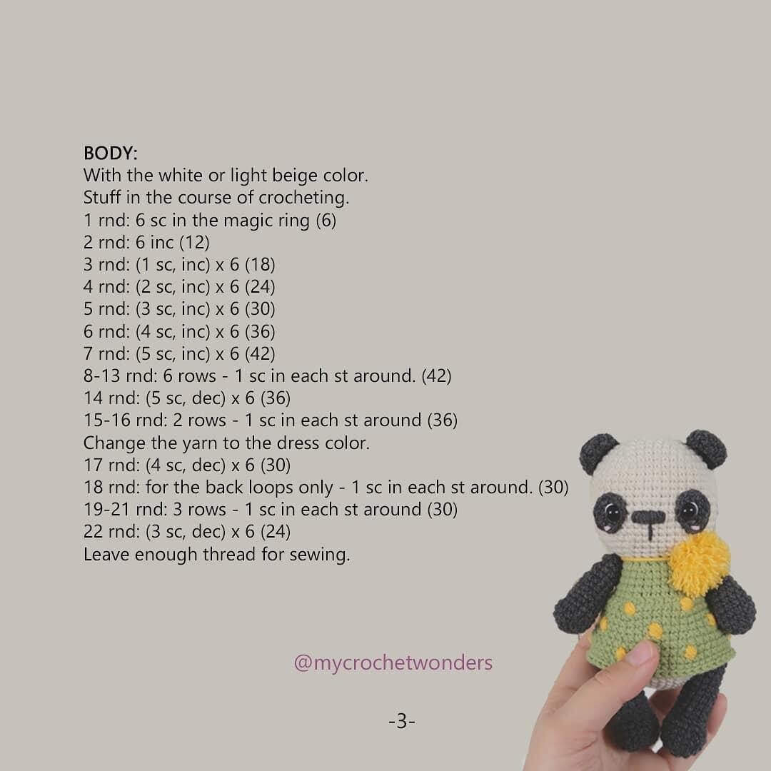 El blog de Dmc: Patrón de ganchillo gratis: Panda de amigurumi de ... | 1080x1080