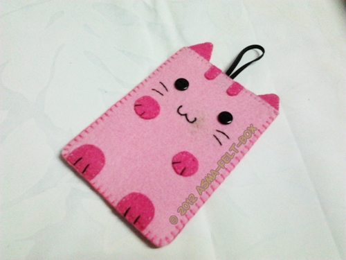 R10: Felt Phone Pouch Cute Kitty @ Kucing Comel
