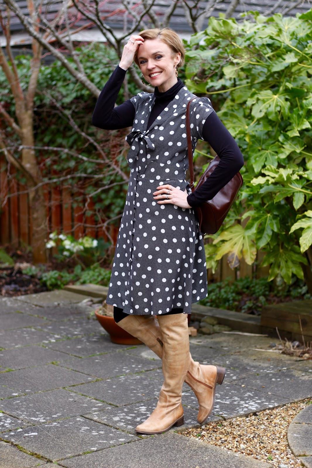 Grey Vintage Spotty Dress and OTK Boots | Fake Fabulous