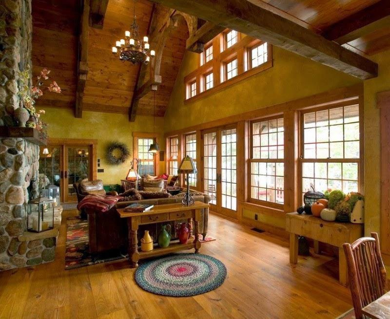 Интерьер бревенчатого дома внутри