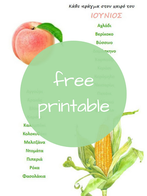 Τα Φρούτα και Λαχανικά του Ιουνίου - Δωρεάν Εκτυπώσιμος Οδηγός