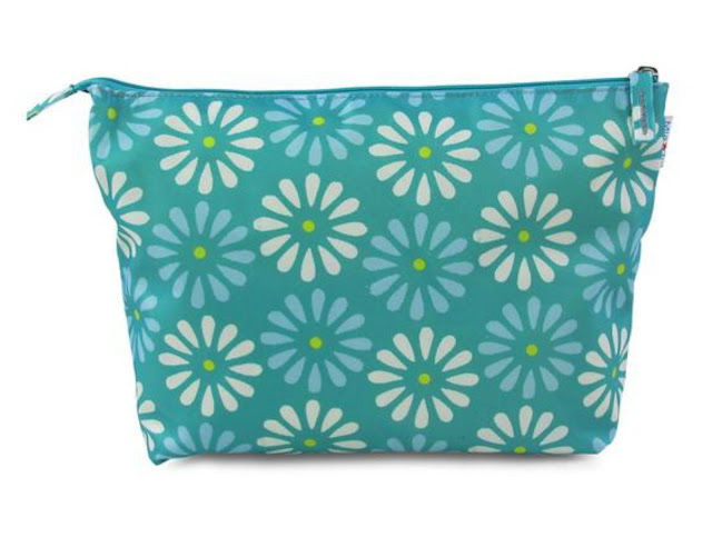 Mia Tui Beau make up bag, green with contrasting white and green fllowers