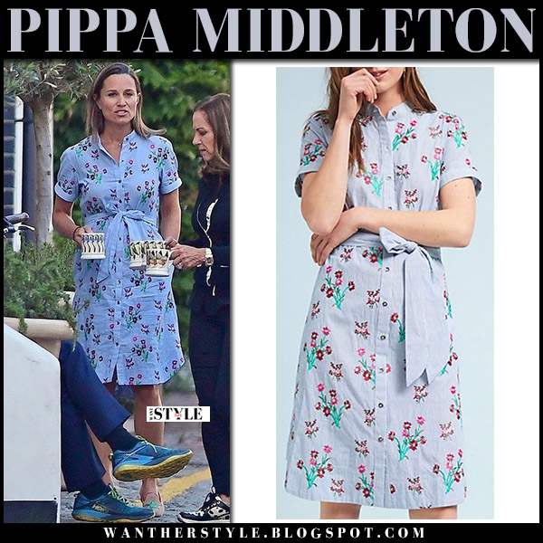 Pippa Middleton in blue floral print shirt dress anthropologie maternity royal fashion august 9