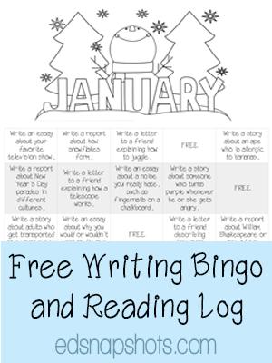 Free Writing Bingo and Reading Log for January   Everyday Snapshots