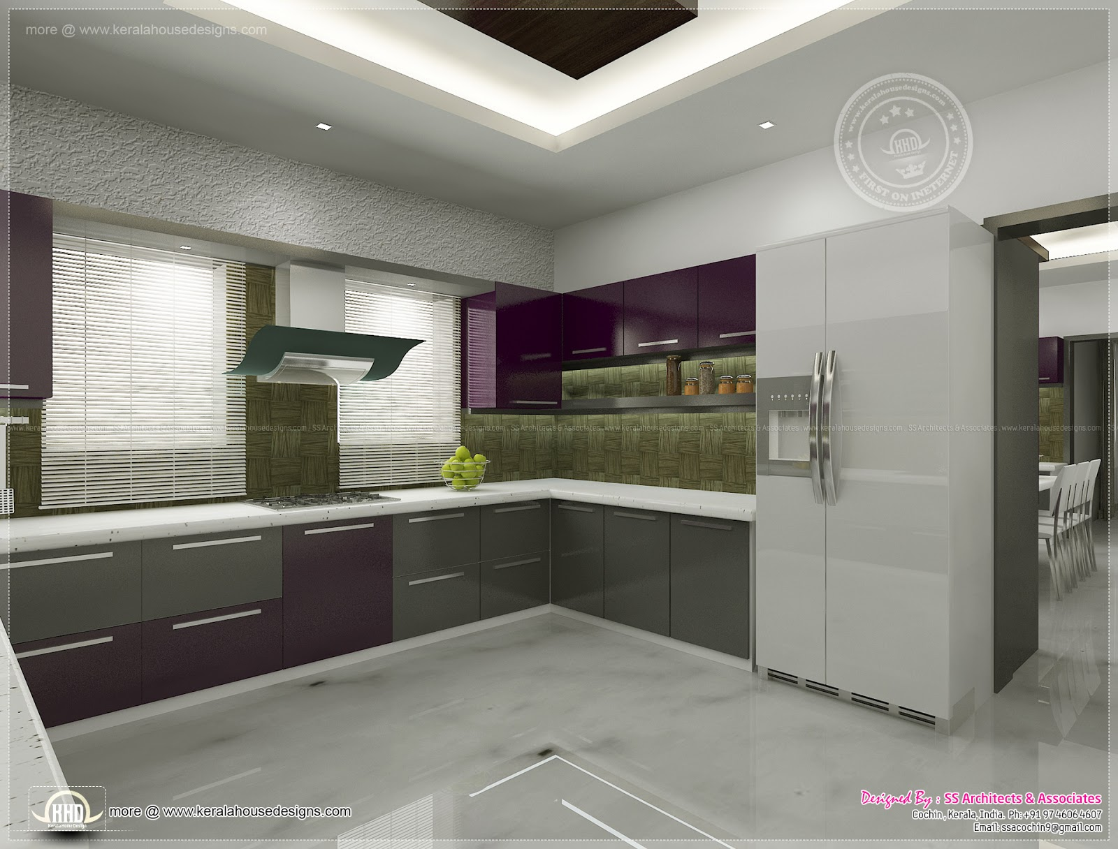 Kitchen interior views by ss architects cochin kerala for Kerala house interior painting photos
