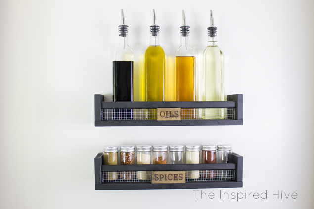DIY industrial farmhouse spice racks. Great idea for an easy Ikea hack!