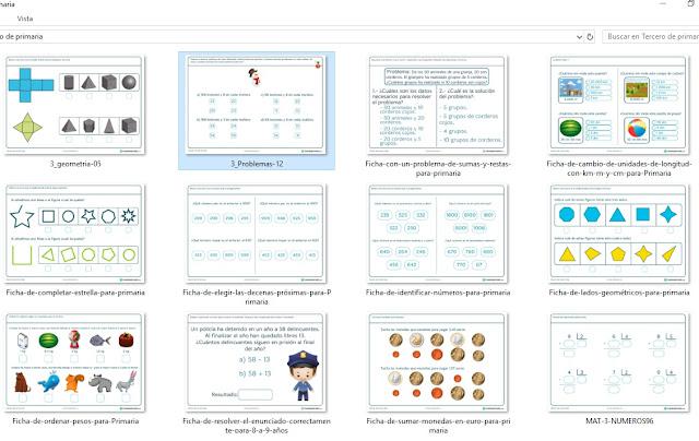 Fichas de ejercicios de matemática para tercero de primaria