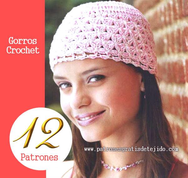 12 Patrones Ganchillo de Gorros Muy Femeninos  6a4f070d3f9