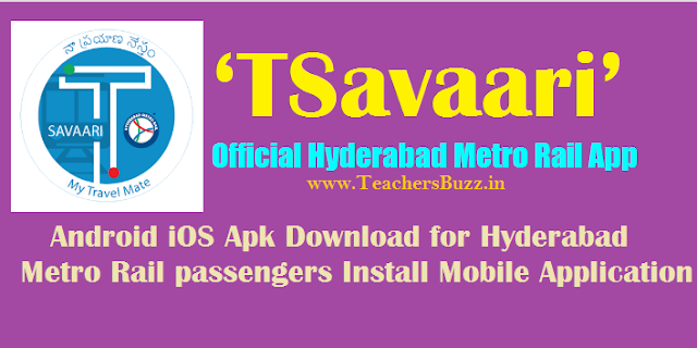 'TSavaari' Official Hyderabad Metro Rail App Android iOS Download for Hyderabad metro rail passengers Install Mobile Application