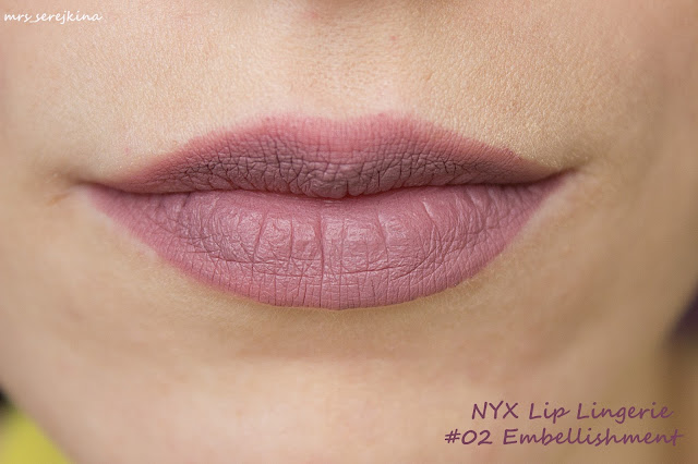 NYX Lip Lingerie в оттенках 02 Embellishment swatches