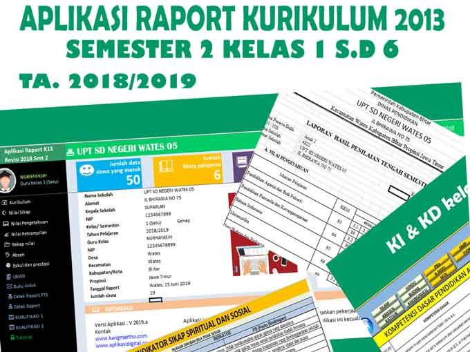 raport k13 semester 2 kelas 1 s/d 6
